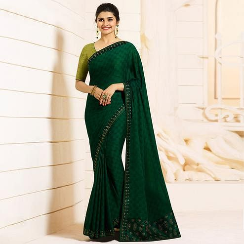 Blooming Dark Green Colored Partywear Embroidered Georgette Saree