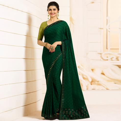 Blooming Dark Green Colored Partywear Embroidered Silk Saree