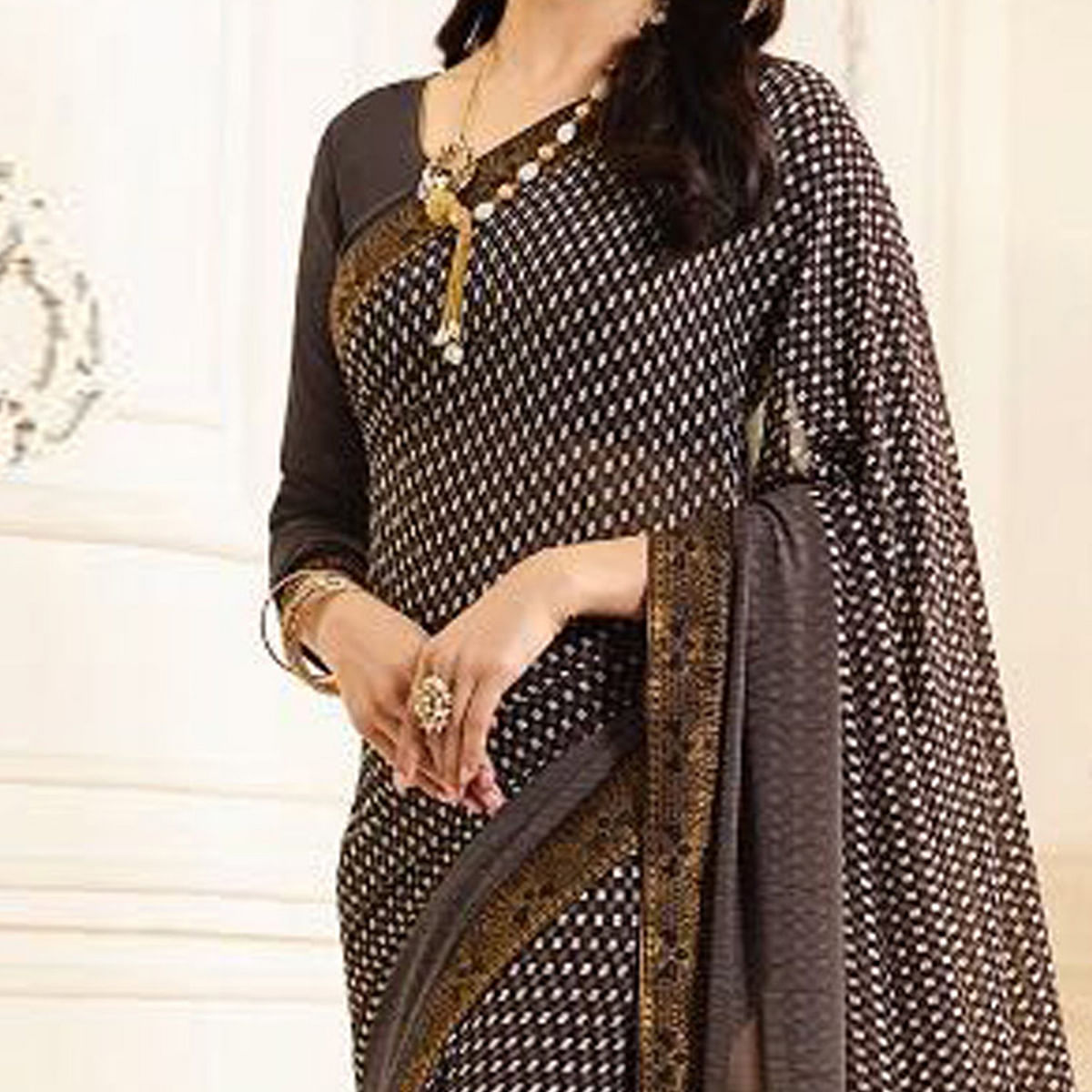 Gorgeous Brown Casual Printed Georgette Saree