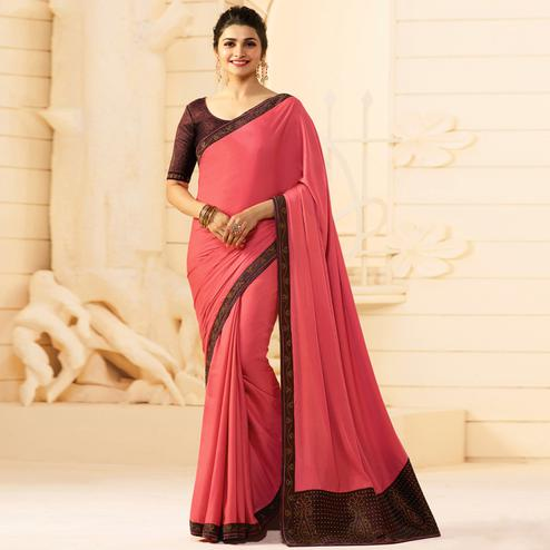 Desiring Pink Colored Partywear Embroidered Silk Saree