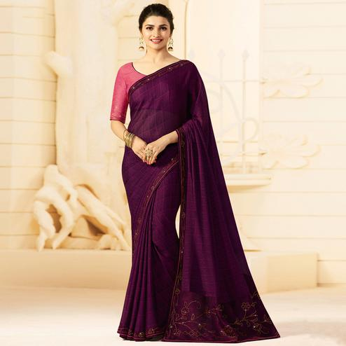 Ideal Dark Purple Colored Partywear Embroidered Georgette Saree