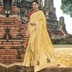 Attractive Light Yellow Colored Festive Wear Woven Banarasi Silk Saree