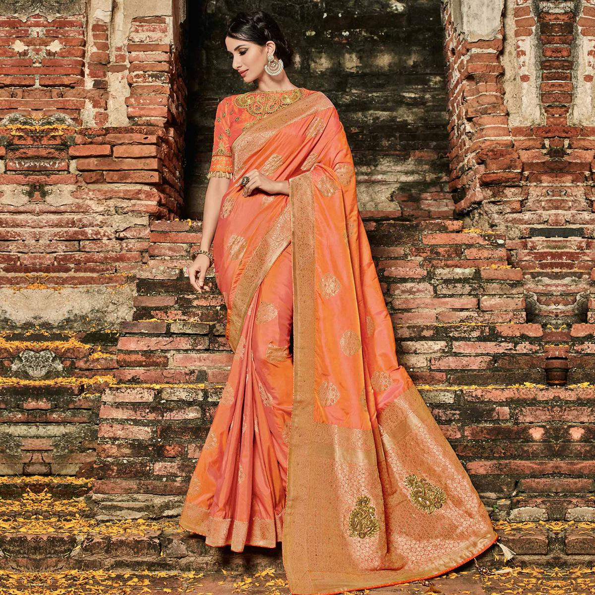 Surpassing Orange Colored Festive Wear Woven Banarasi Silk Saree