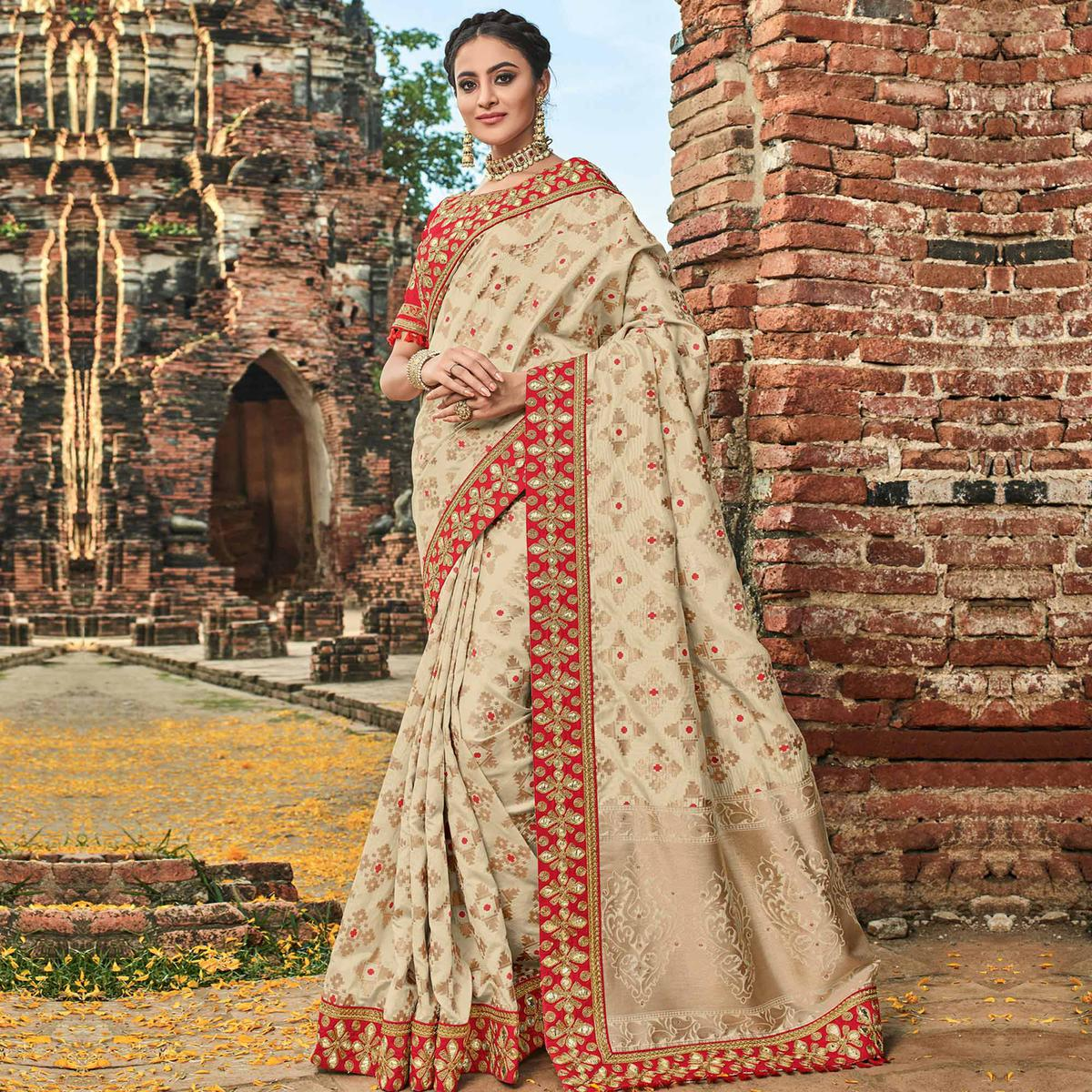 Entrancing Beige Colored Festive Wear Woven Banarasi Silk Saree
