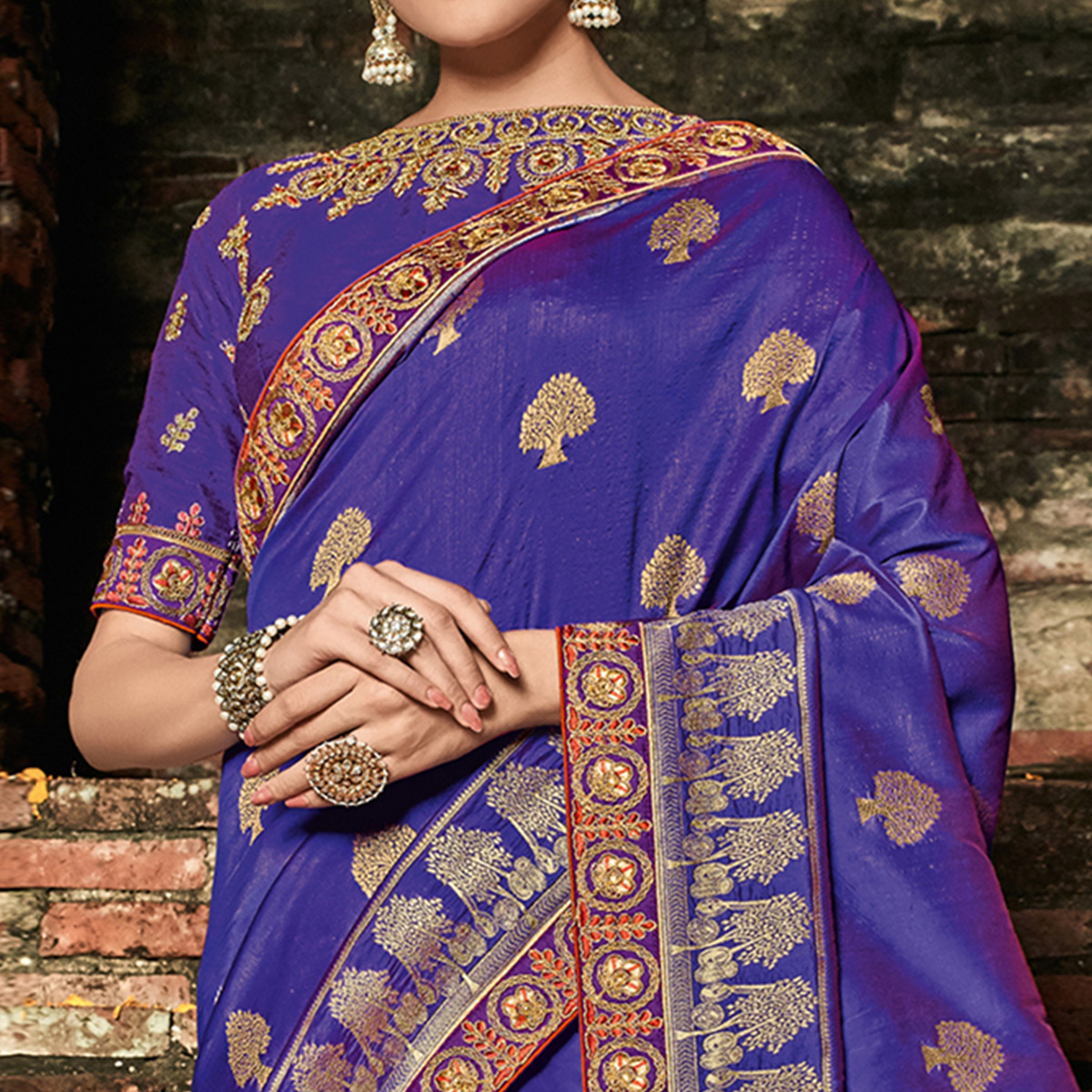 Blissful Blue Colored Festive Wear Woven Banarasi Silk Saree