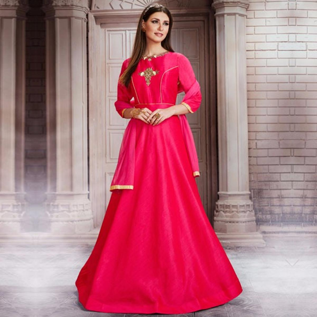 Stunning Hot Pink Colored Partywear Embroidered Silk Gown