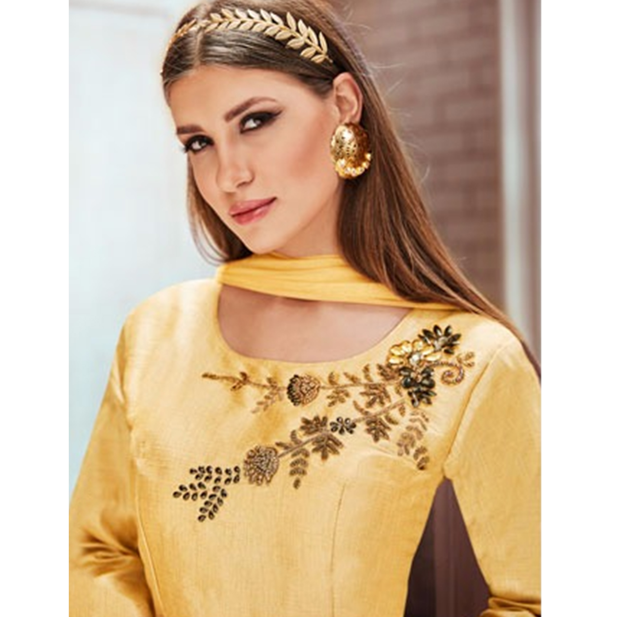 Amazing Cream Colored Partywear Embroidered Silk Gown