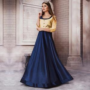 Gorgeous Cream-Navy Blue Colored Partywear Embroidered Silk Gown