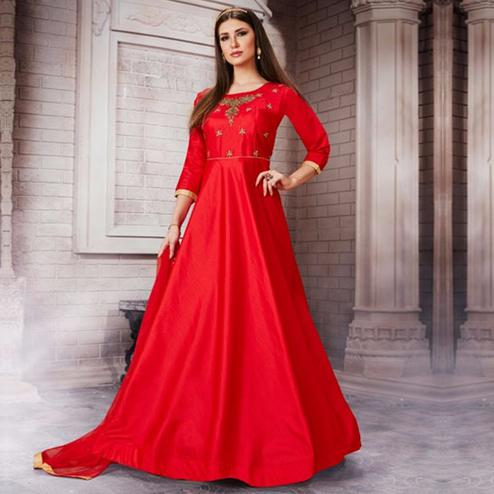 Gleaming Red Colored Partywear Embroidered Silk Gown