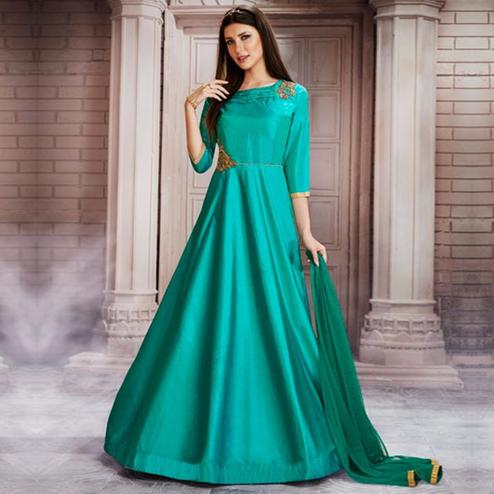 Refreshing Aqua Blue Colored Partywear Embroidered Silk Gown