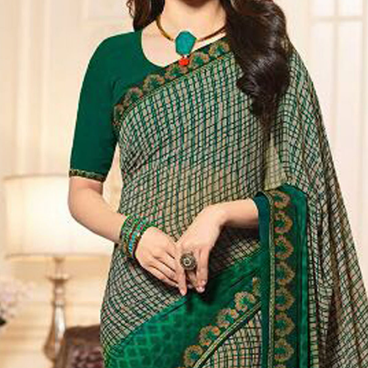 Stunning Green Casual Printed Georgette Saree