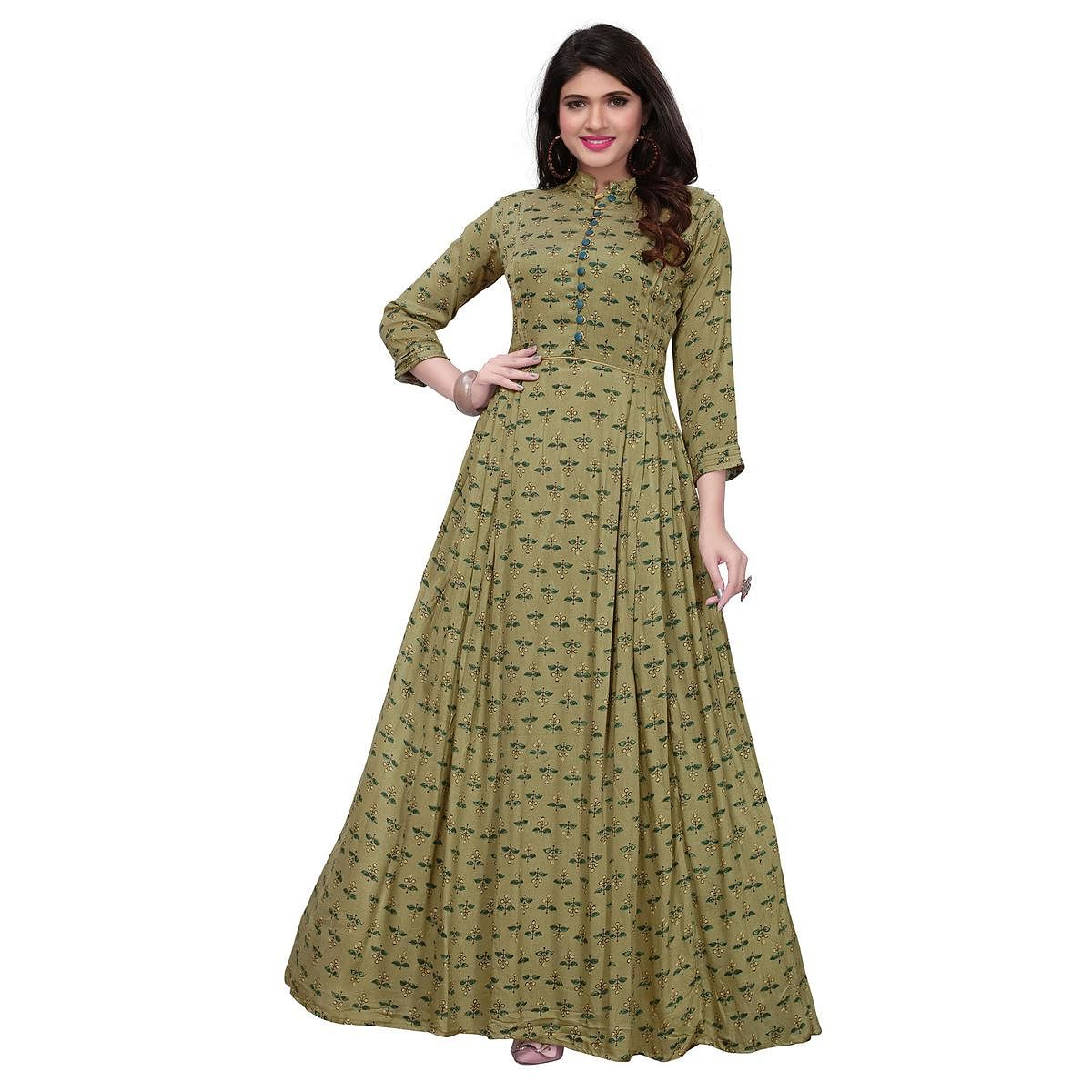 Classy Olive Green Colored Partywear Printed Rayon Long Kurti
