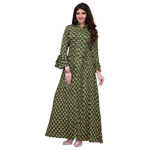 Amazing Green Colored Partywear Printed Rayon Long Kurti