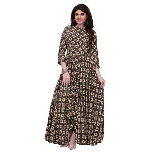Flaunt Black-Cream Colored Partywear Printed Rayon Long Kurti