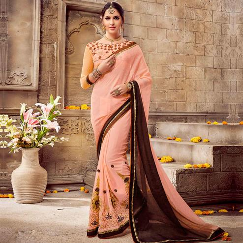 Adorable Peach-Brown Colored Party Wear Embroidered Georgette Saree