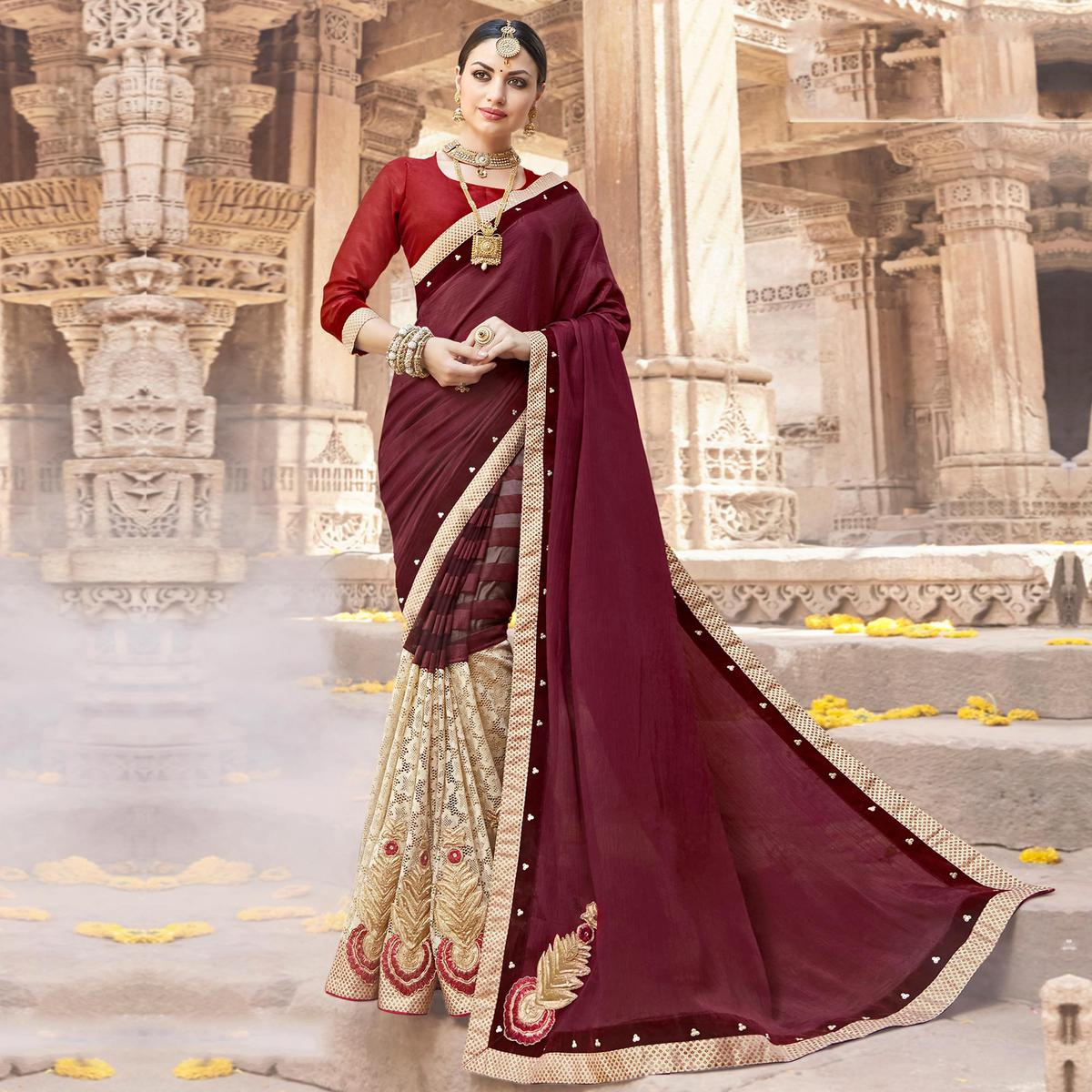 Attractive Wine-Beige Colored Party Wear Embroidered Art Silk-Net Saree