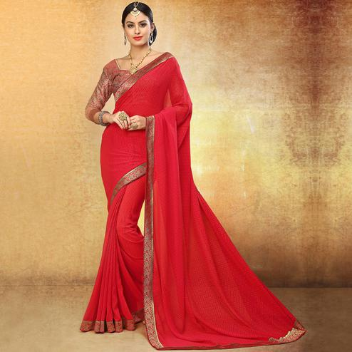 Beautiful Deep Red Colored Party Wear Printed Georgette Saree