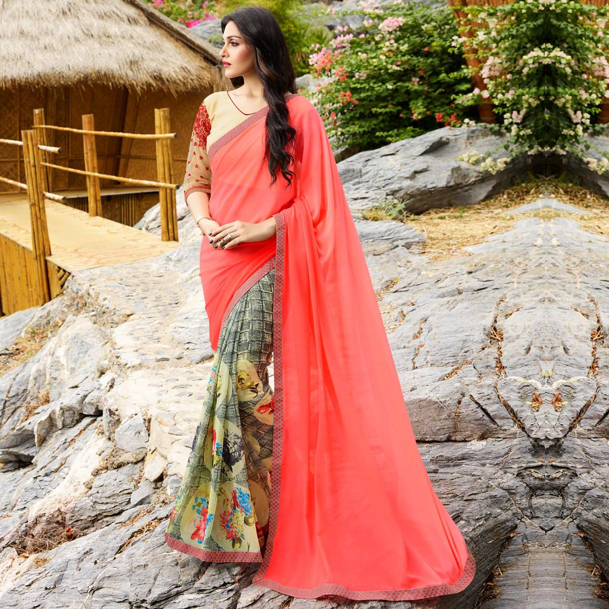 Classy Multi Colored Party Wear Printed Georgette Saree