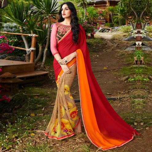 Glorious Maroon-Beige Colored Party Wear Printed Georgette Saree
