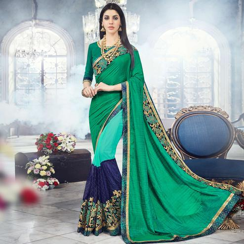 Graceful Green Colored Party Wear Embroidered Silk & Georgette Saree