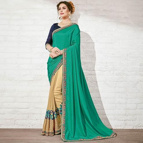 Lovely Beige & Teal Green Colored Embroidered Georgette Saree
