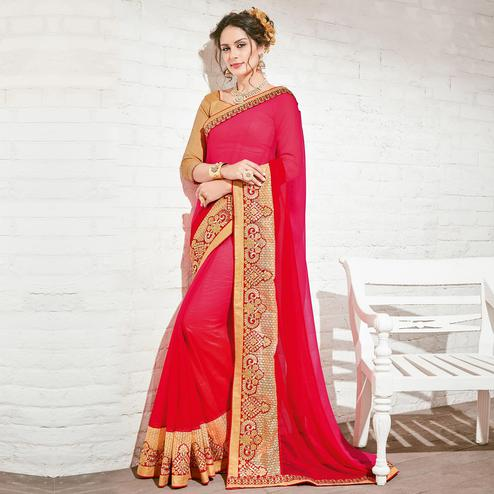 Pretty Red-Pink Colored Party Wear Embroidered Georgette Saree