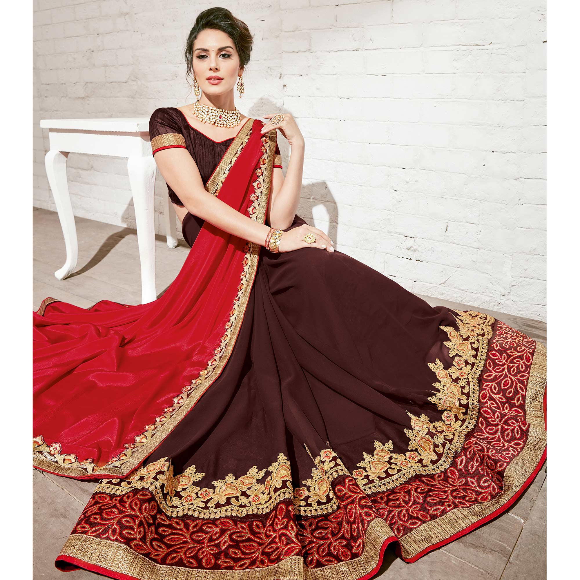 Charming Brown-Red Colored Party Wear Embroidered Georgette Saree