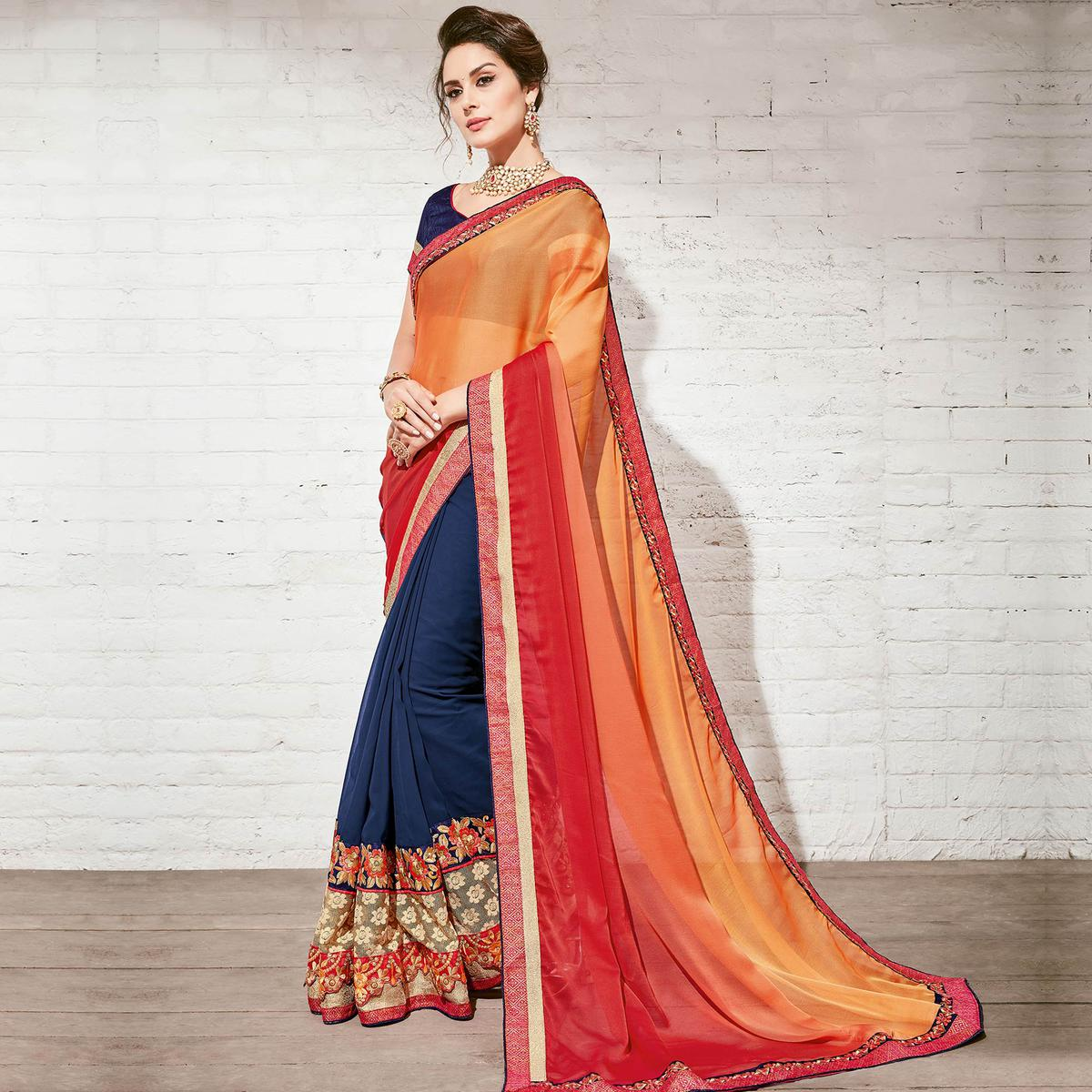 Ravishing Blue-Orange Colored Party Wear Embroidered Georgette Saree