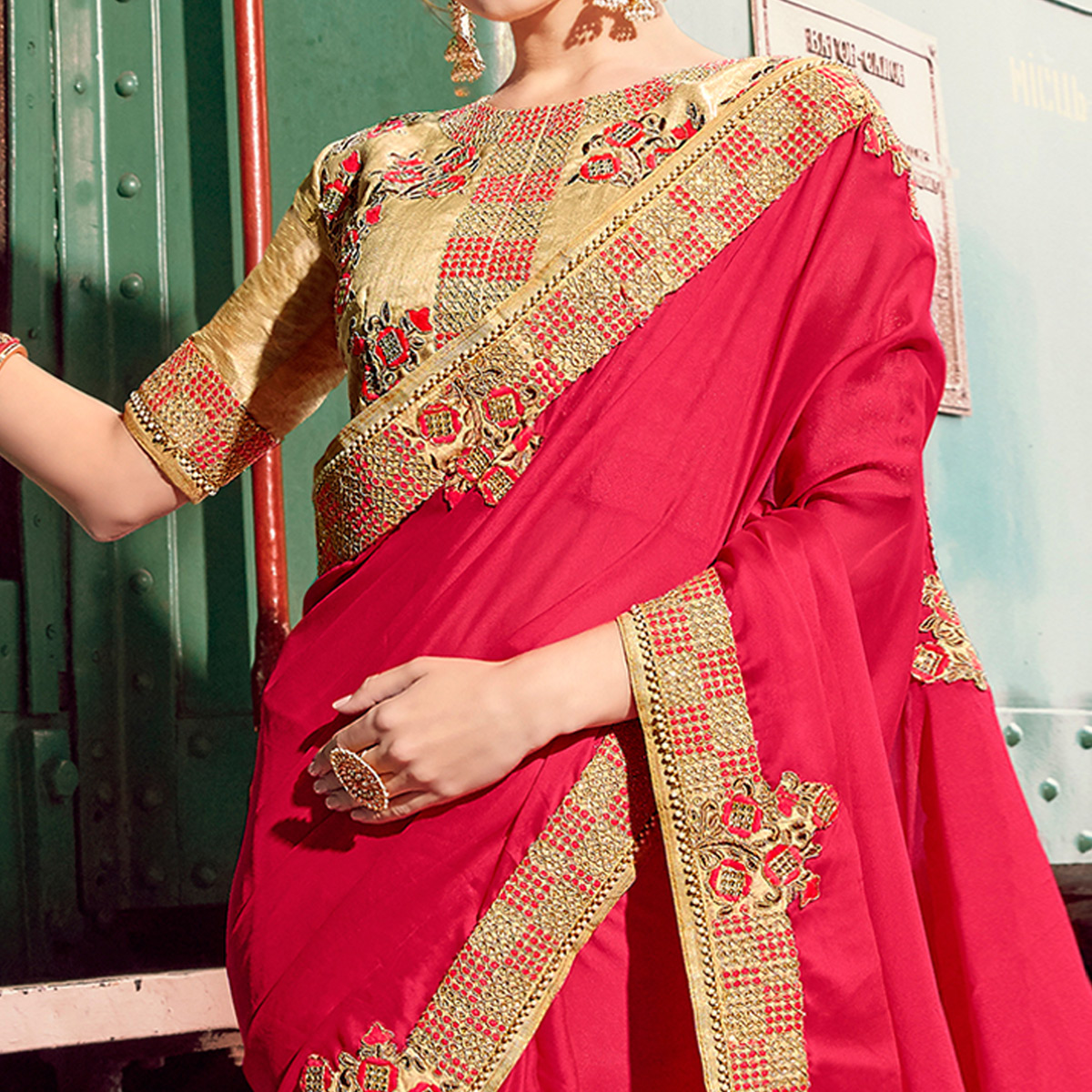 Blooming Dark Pink Colored Party Wear Embroidered Chiffon Silk Saree