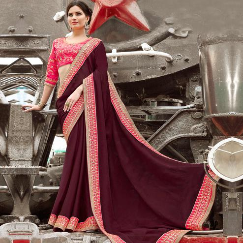 Marvellous Wine Colored Party Wear Embroidered Chiffon Silk Saree