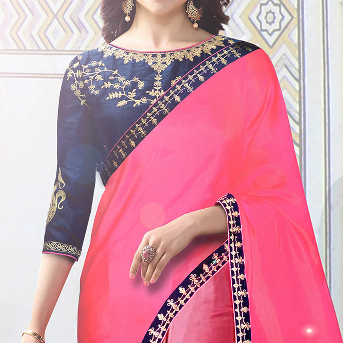 Mesmerising Pink Colored Party Wear Embroidered Silk Saree