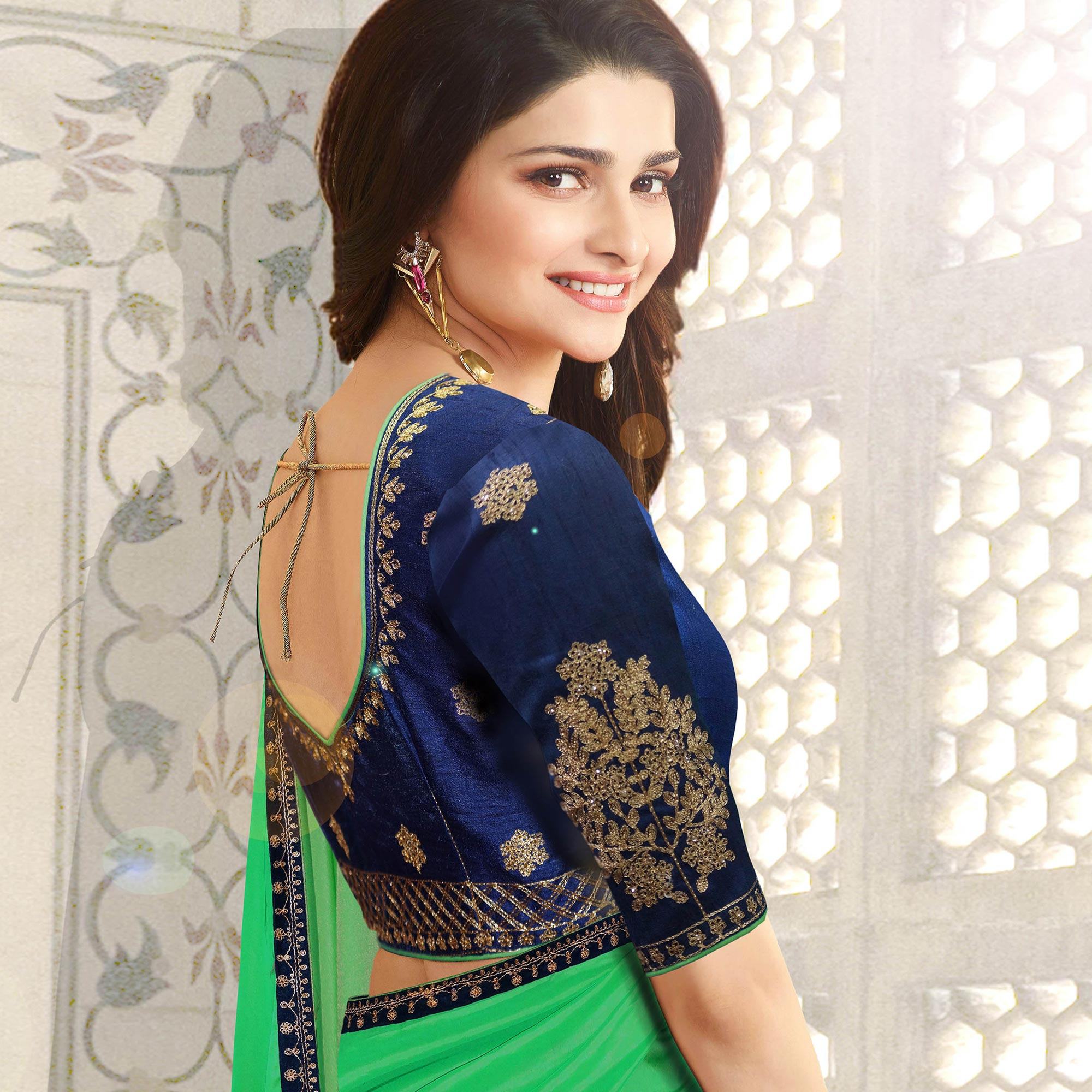 Ravishing Green Colored Party Wear Embroidered Silk Saree