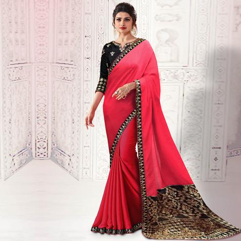 Eye-catching Red Colored Party Wear Embroidered Silk Saree