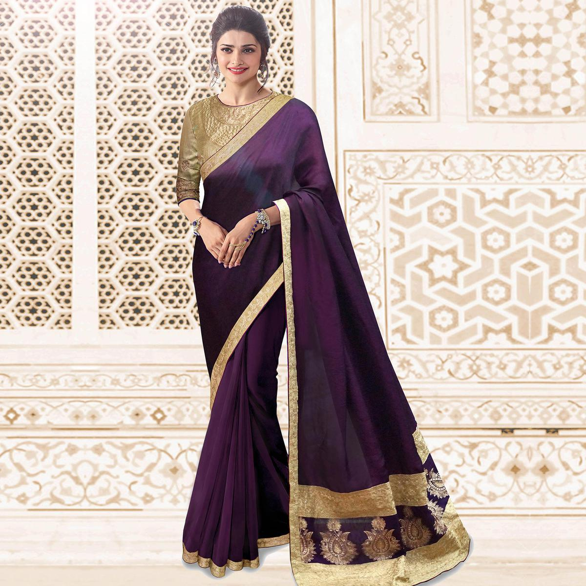 Amazing Purple Colored Party Wear Embroidered Silk Saree