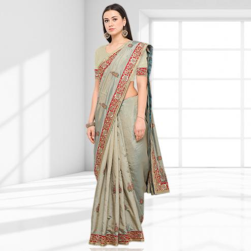 Preferable Grey Colored Party Wear Embroidered Art Silk Saree