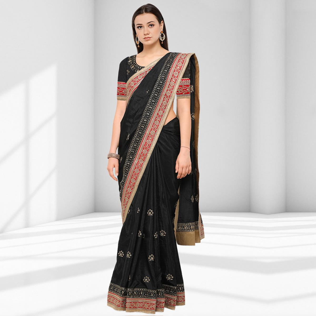 Attractive Black Colored Party Wear Embroidered Raw Silk Saree