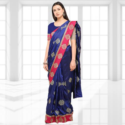 Surpassing Blue Colored Party Wear Embroidered Silk Saree