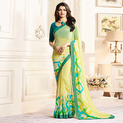 Beautiful Yellow Casual Printed Georgette Saree
