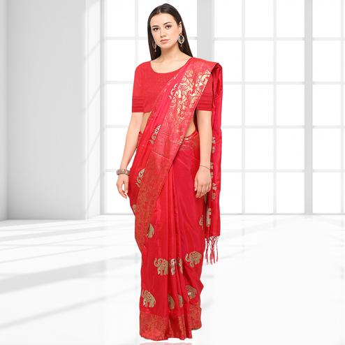 Entrancing Red Party Wear Printed Raw Silk Saree