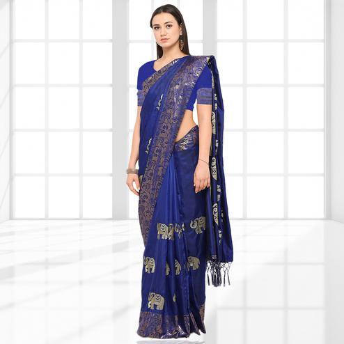 Imposing Blue Colored Party Wear Printed Raw Silk Saree