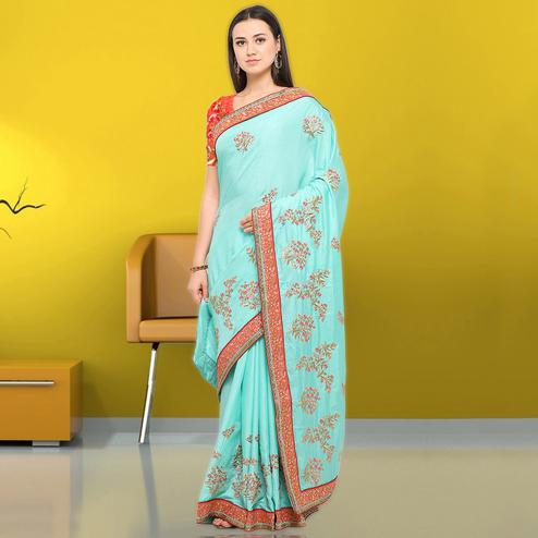 Ideal Sea Green Colored Party Wear Embroidered Cotton Saree