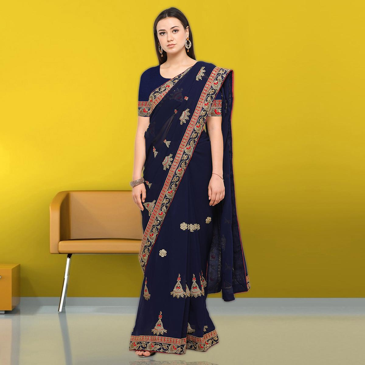 Fantastic Blue Colored Party Wear Embroidered Chiffon Saree
