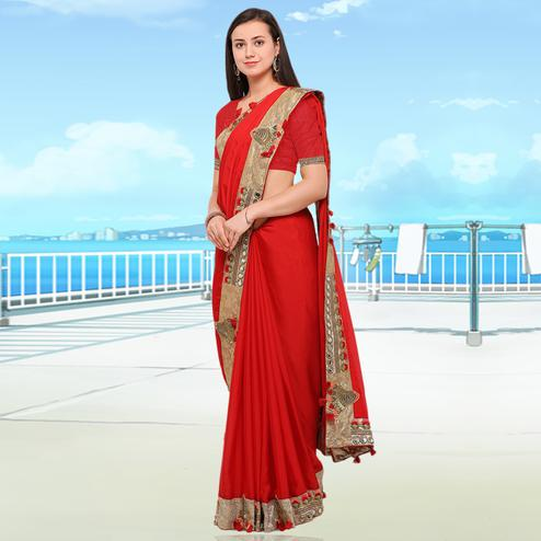 Staring Red Colored Party Wear Embroidered Chiffon Saree