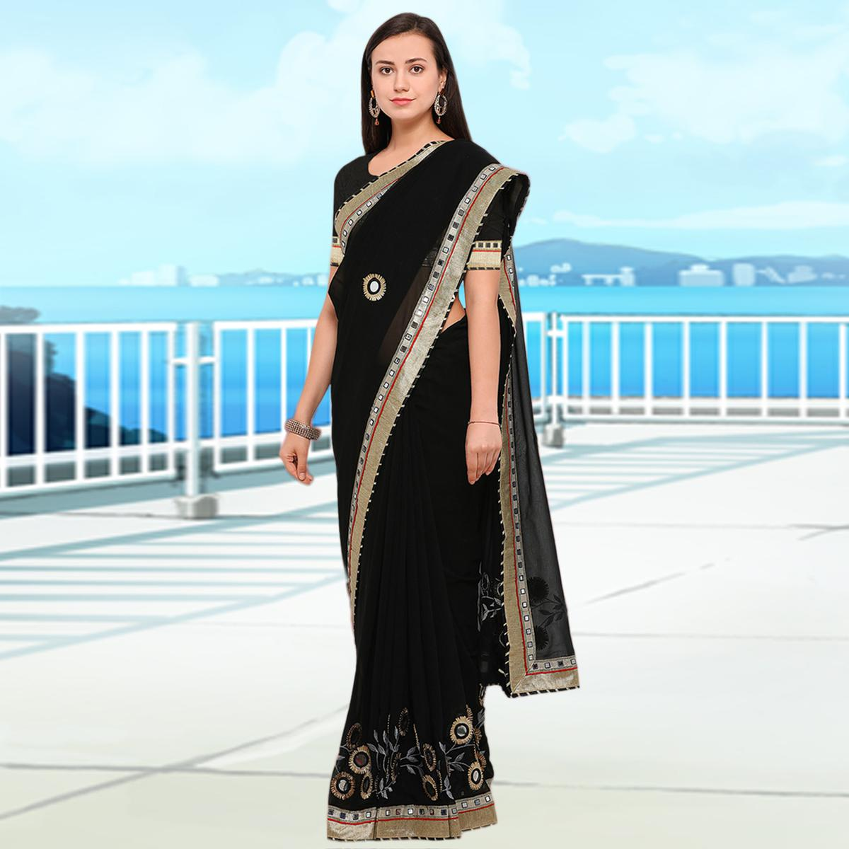 Desirable Black Colored Party Wear Embroidered Georgette Saree