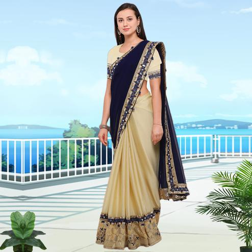 Sophisticated Blue-Beige Colored Party Wear Embroidered Chiffon Saree