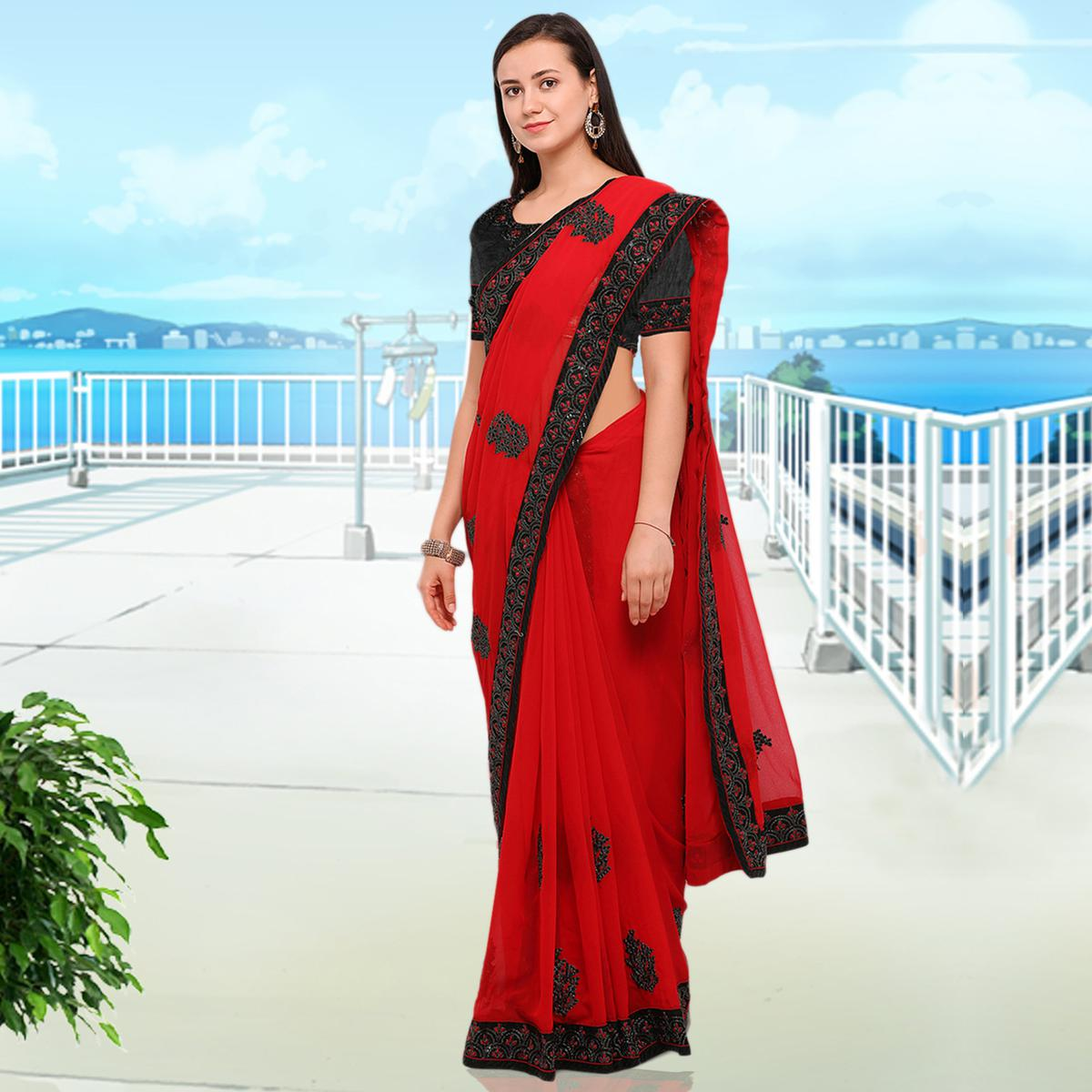 Demanding Red Colored Party Wear Embroidered Georgette Saree