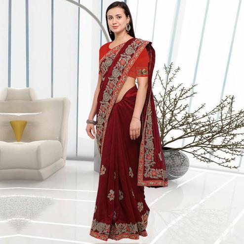 Pleasant Maroon Colored Party Wear Embroidered Art Silk Saree