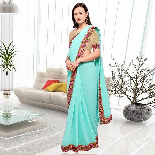 Unique Sea Green Colored Party Wear Embroidered Chiffon Saree