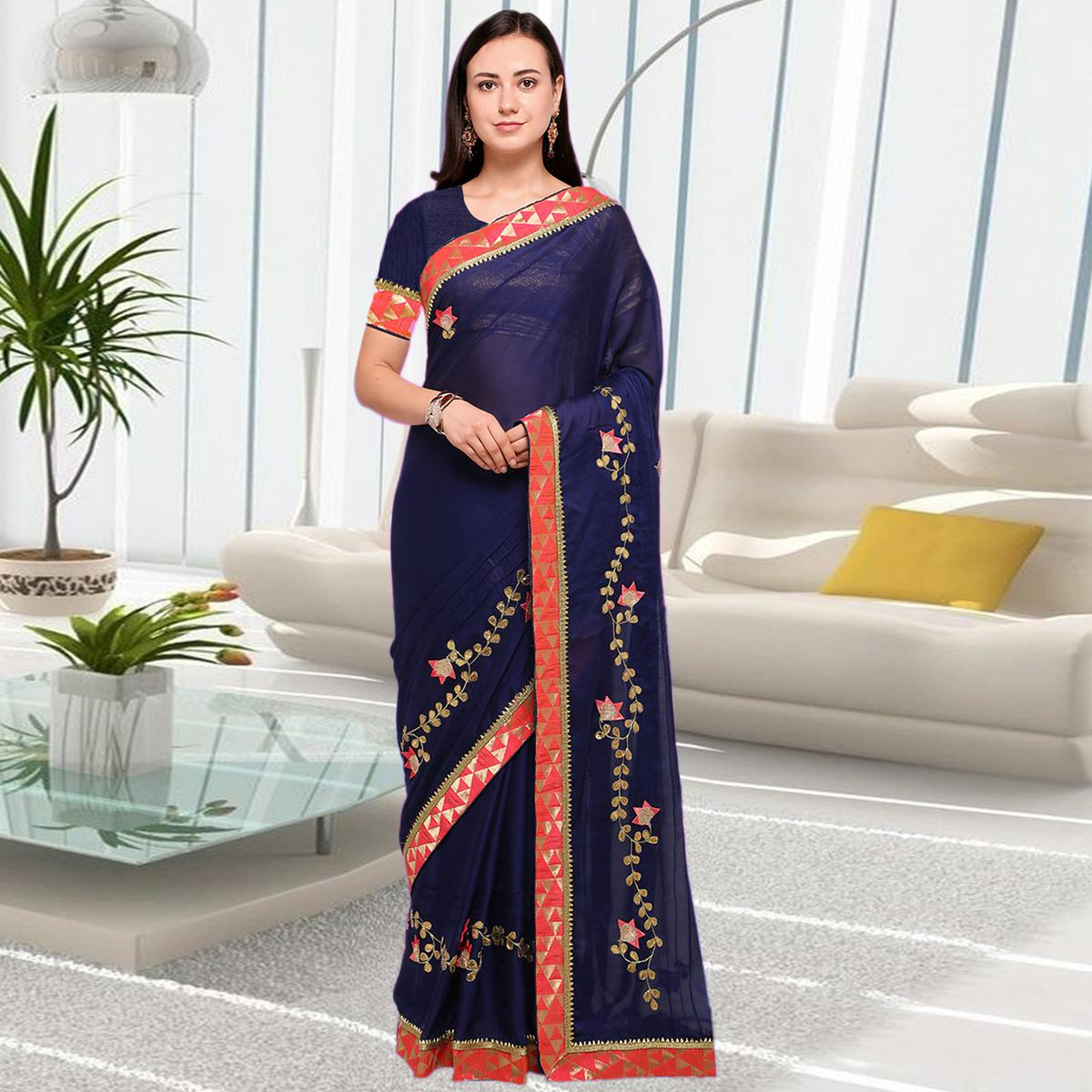 Refreshing Blue Colored Party Wear Embroidered Chiffon Saree
