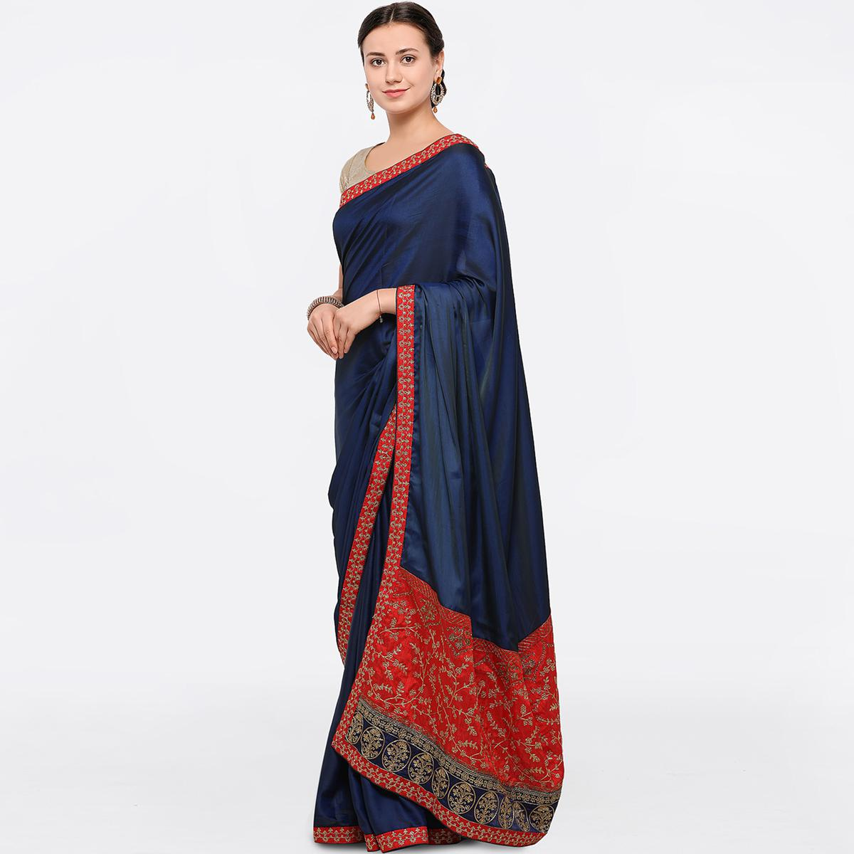 Radiant Blue Colored Party Wear Embroidered Chiffon Saree